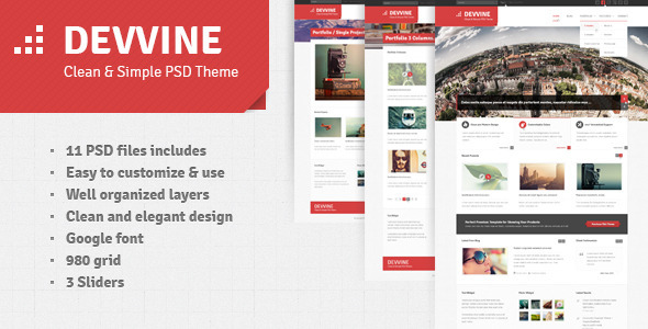 ThemeForest Devvine Modern and Clean PSD Theme 2795318