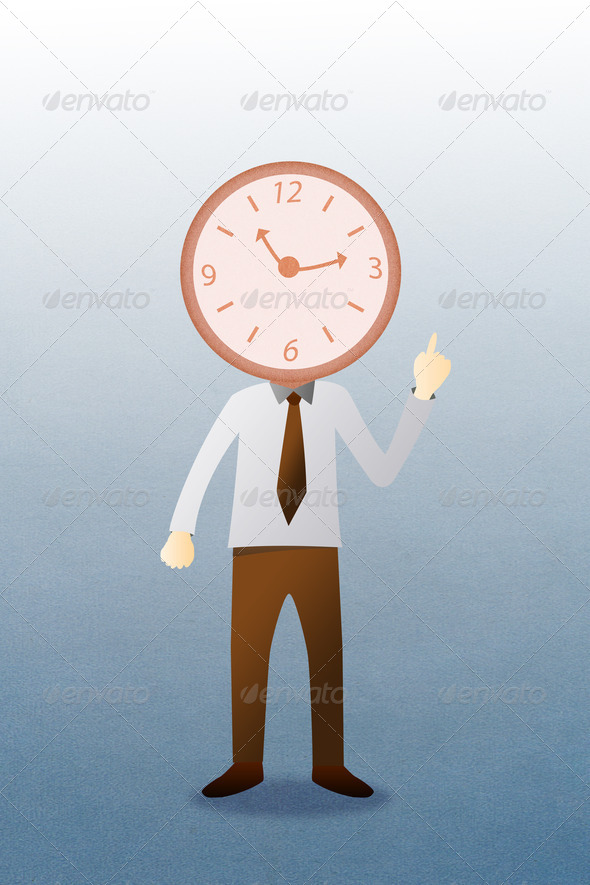 Business man with head clock - Stock Photo - Images