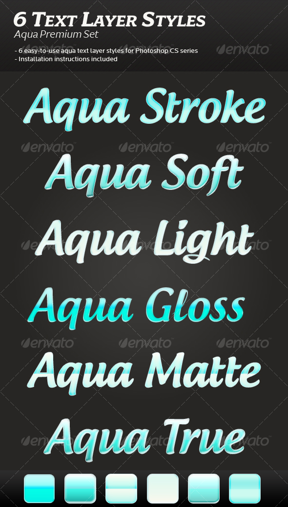 6 Aqua Text Layer Styles - Photoshop Add-ons