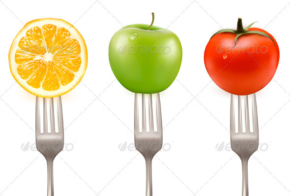 Lemon, tomato and apple on forks  Concept of diet  - Food Objects