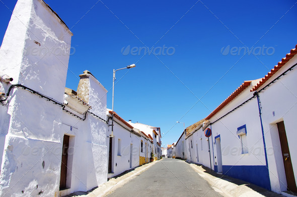 Quiet street in Alentejo, Alvito village - Stock Photo - Images