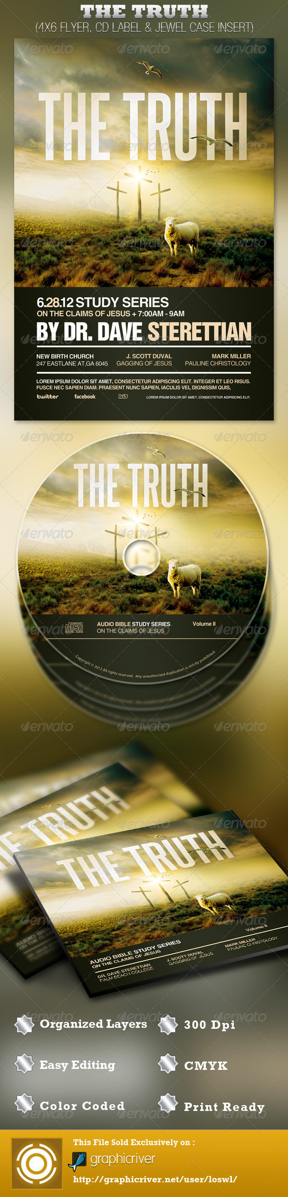GraphicRiver The Truth Church Flyer and CD Template 2517231