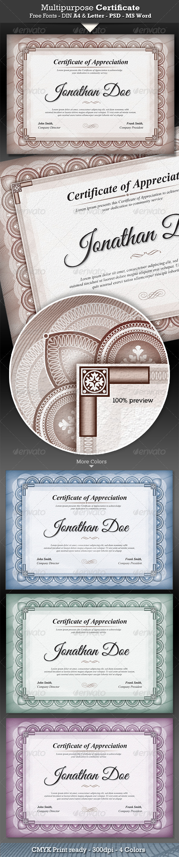 Multipurpose Certificates - Certificates Stationery