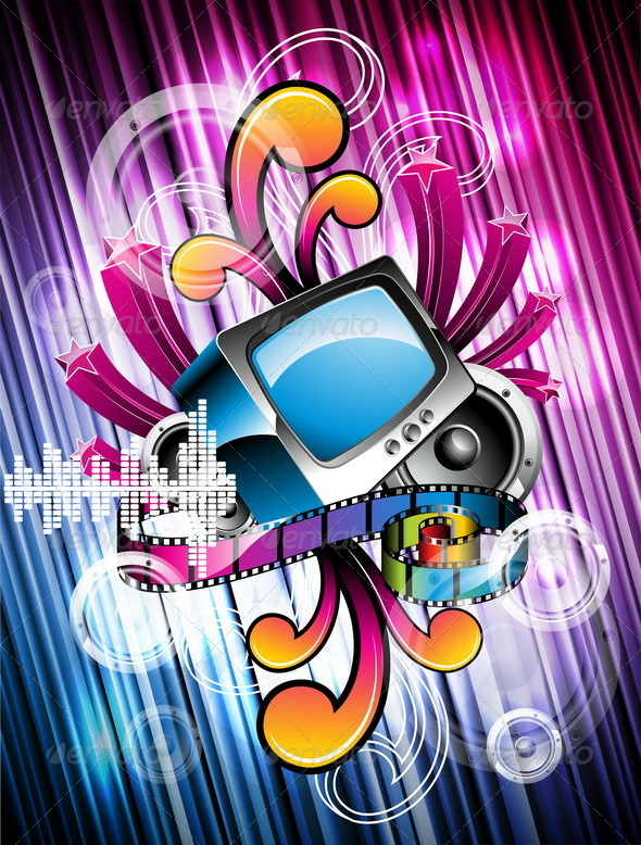 Abstract vector shiny background with speakers. - Retro Technology