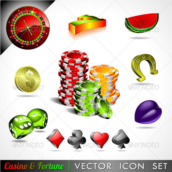 Icon collection on a casino and fortune the - Objects Vectors