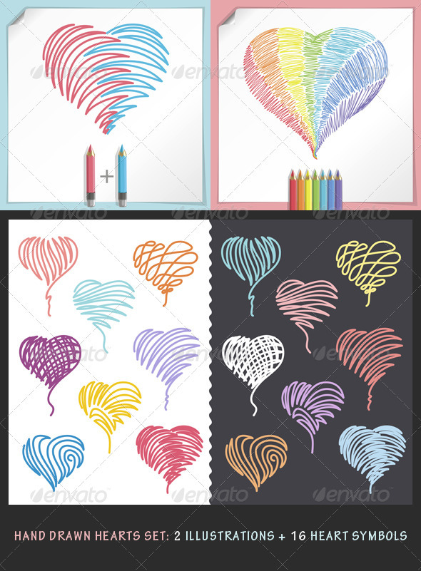Hand Drawn Hearts Set - Decorative Symbols Decorative