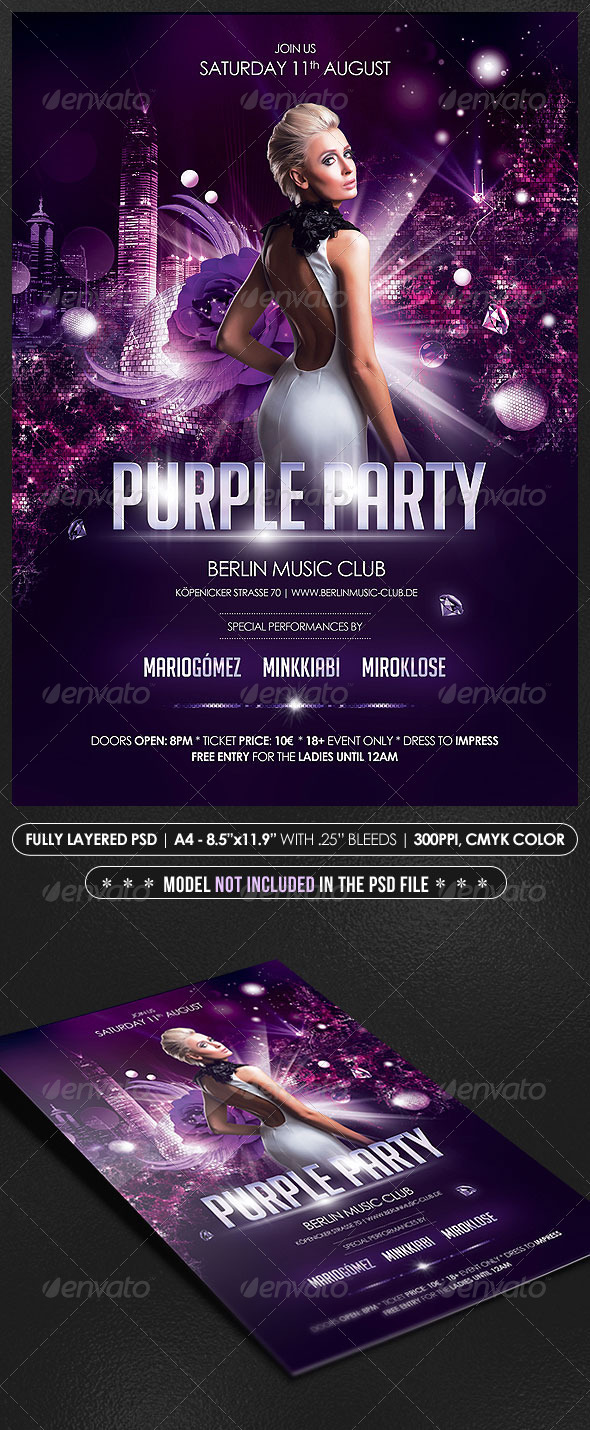 Purple Party Poster/Flyer - Events Flyers