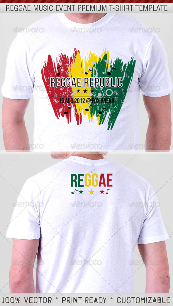 Reggae Music Show Premium T-Shirt Template - Events T-Shirts