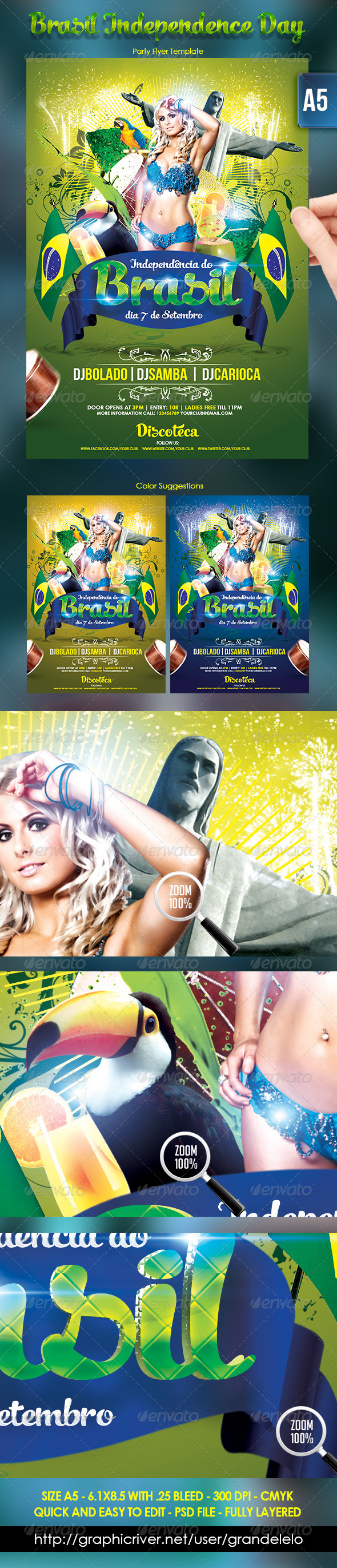 Brasil Independence Day Flyer Template - Holidays Events