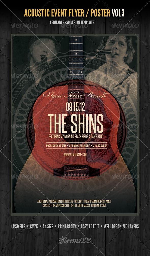 Acoustic Event Flyer/Poster Template Vol 3 - Concerts Events