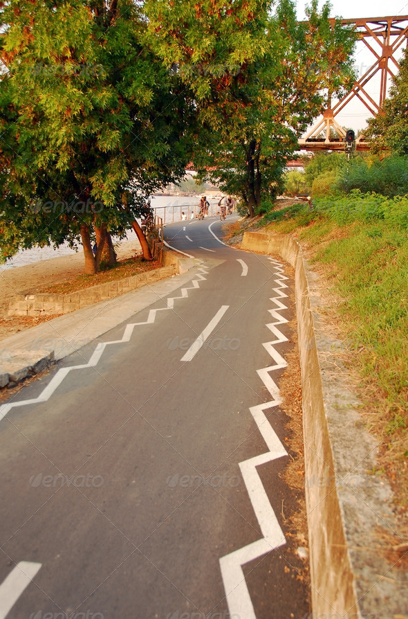 Belgrade, bicycle path along the river - Stock Photo - Images