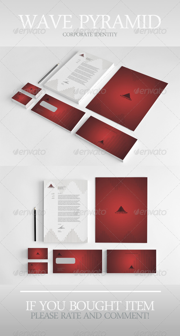 Wave Pyramid Corporate Identity - Stationery Print Templates