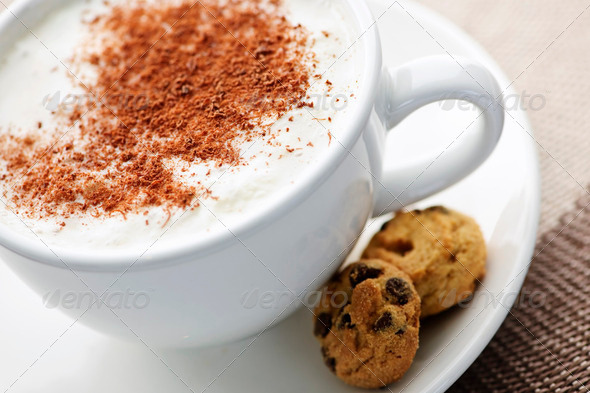 Cappuccino Or Latte Coffee - Stock Photo - Images