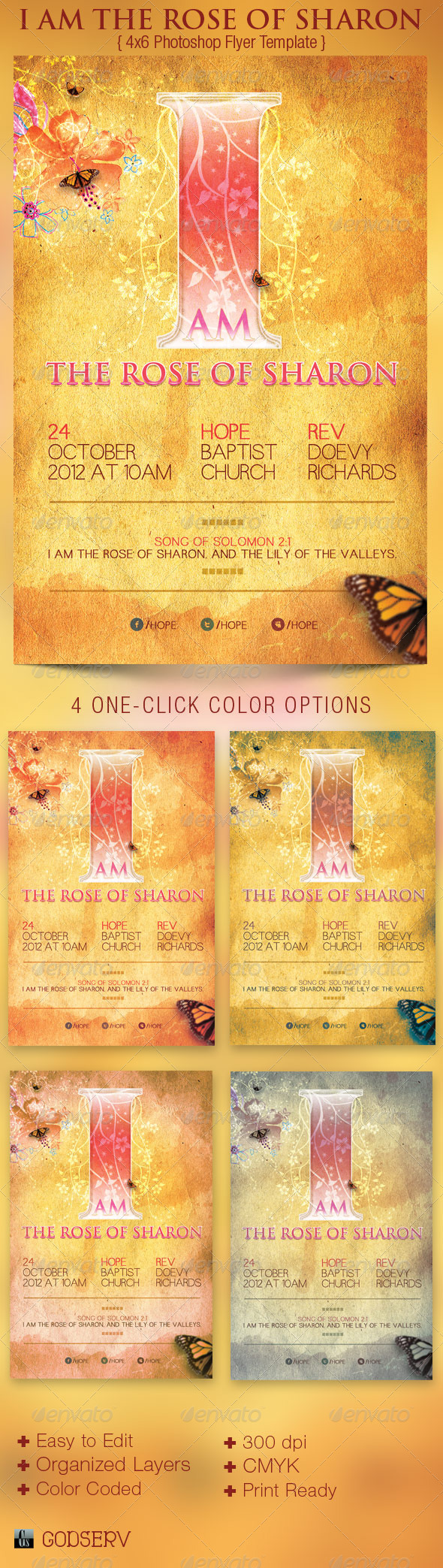 I Am The Rose of Sharon Church Flyer Template - Church Flyers