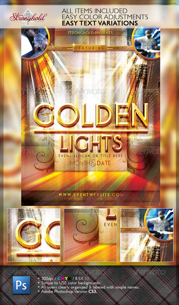 Golden Lights Event Flyer Template - Flyers Print Templates