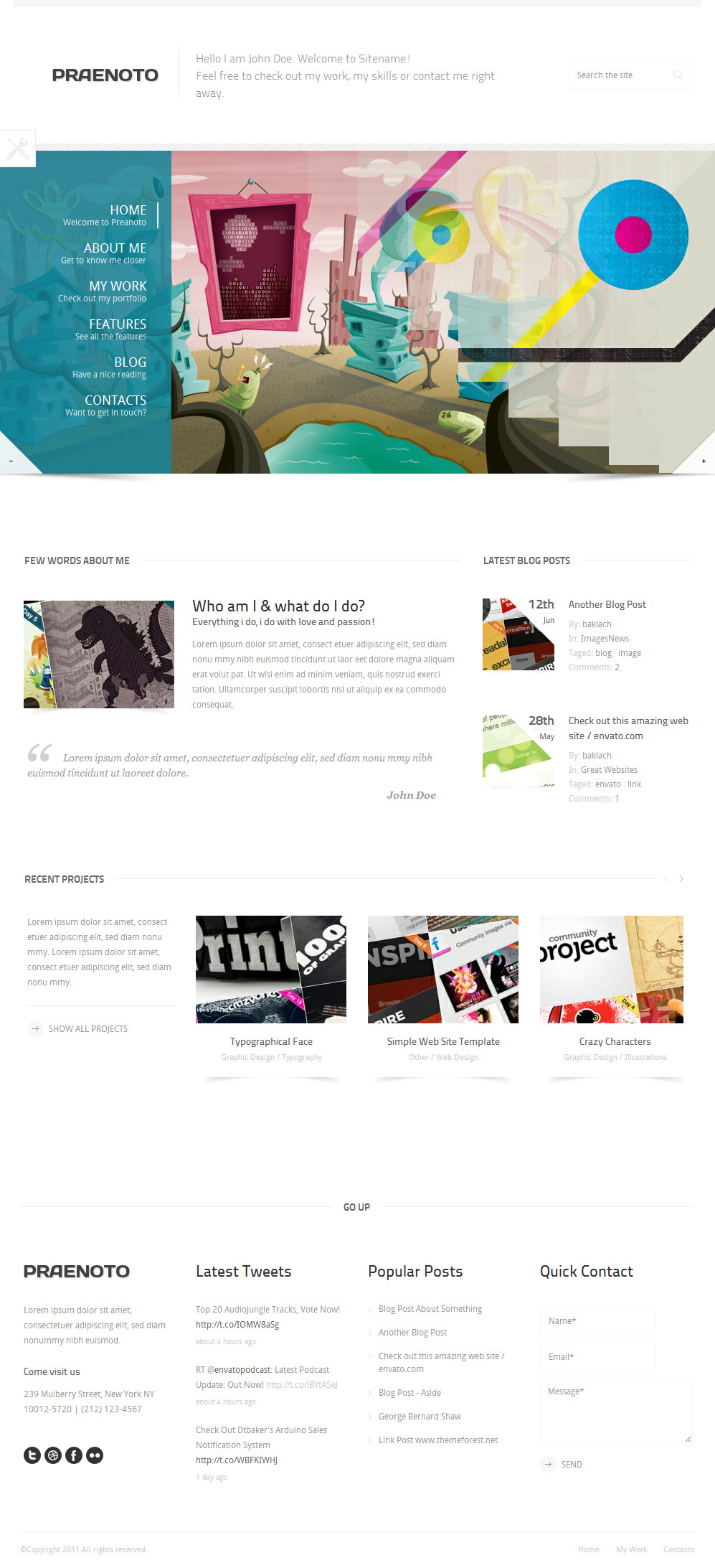Praenoto - Clean & Minimalist WordPress Theme - Screenshot 2. Home page.
