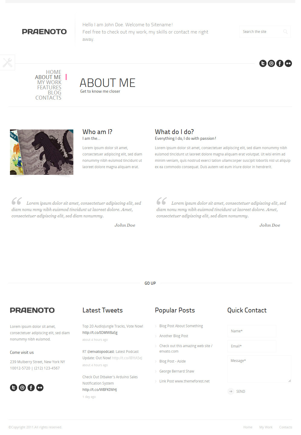 Praenoto - Clean & Minimalist WordPress Theme - Screenshot 3. About Me page.