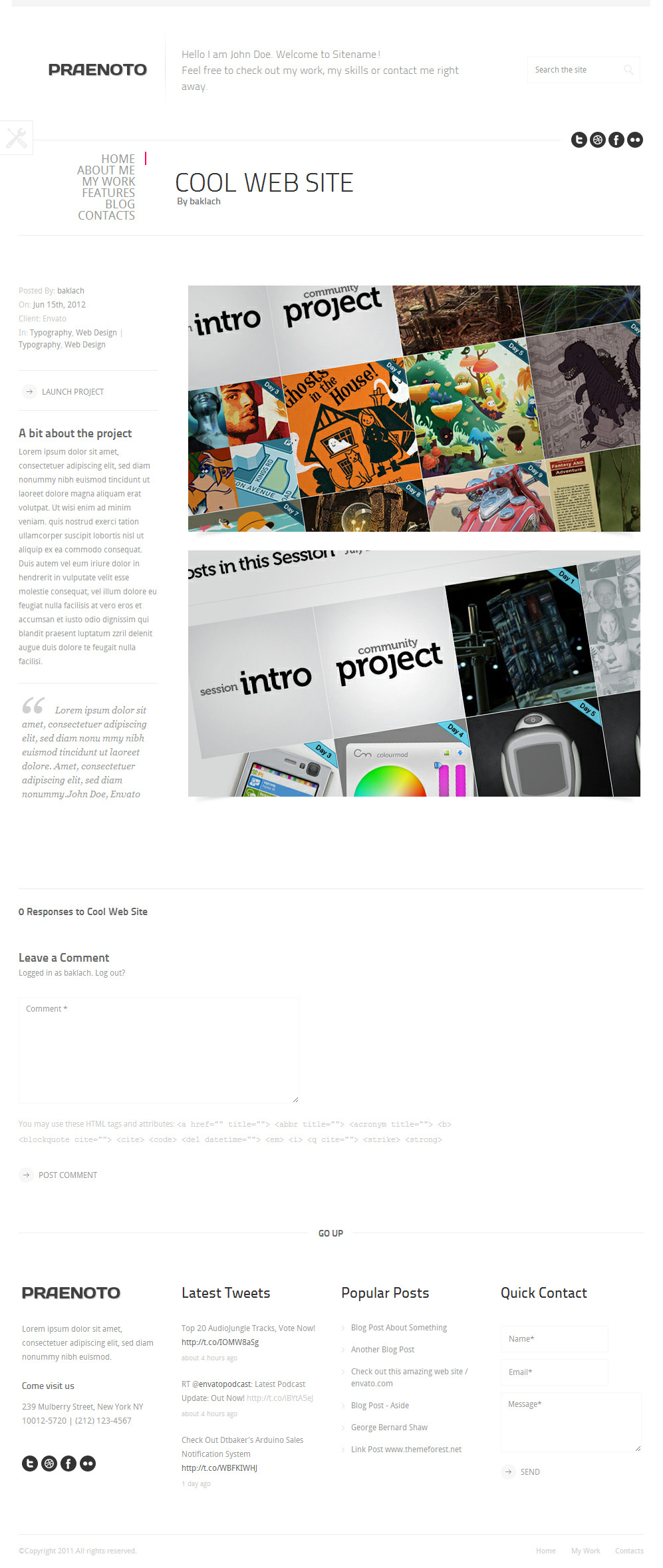 Praenoto - Clean & Minimalist WordPress Theme - Screenshot 6. Portfolio item page.