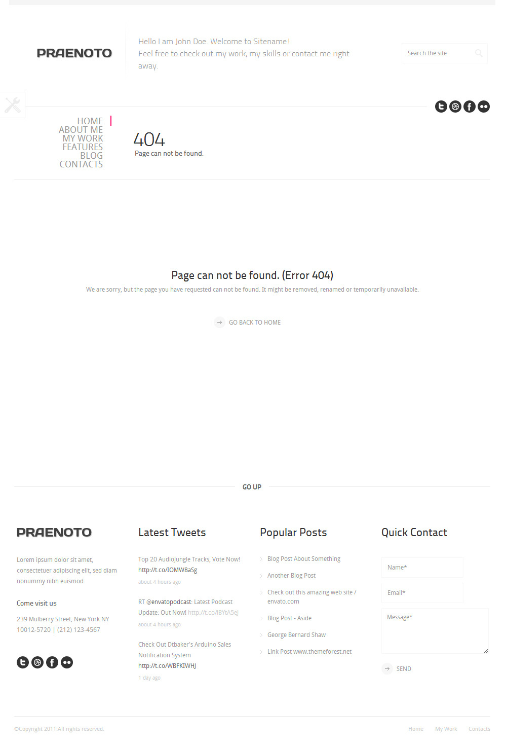 Praenoto - Clean & Minimalist WordPress Theme - Screenshot 8. 404 Page notfound error page.