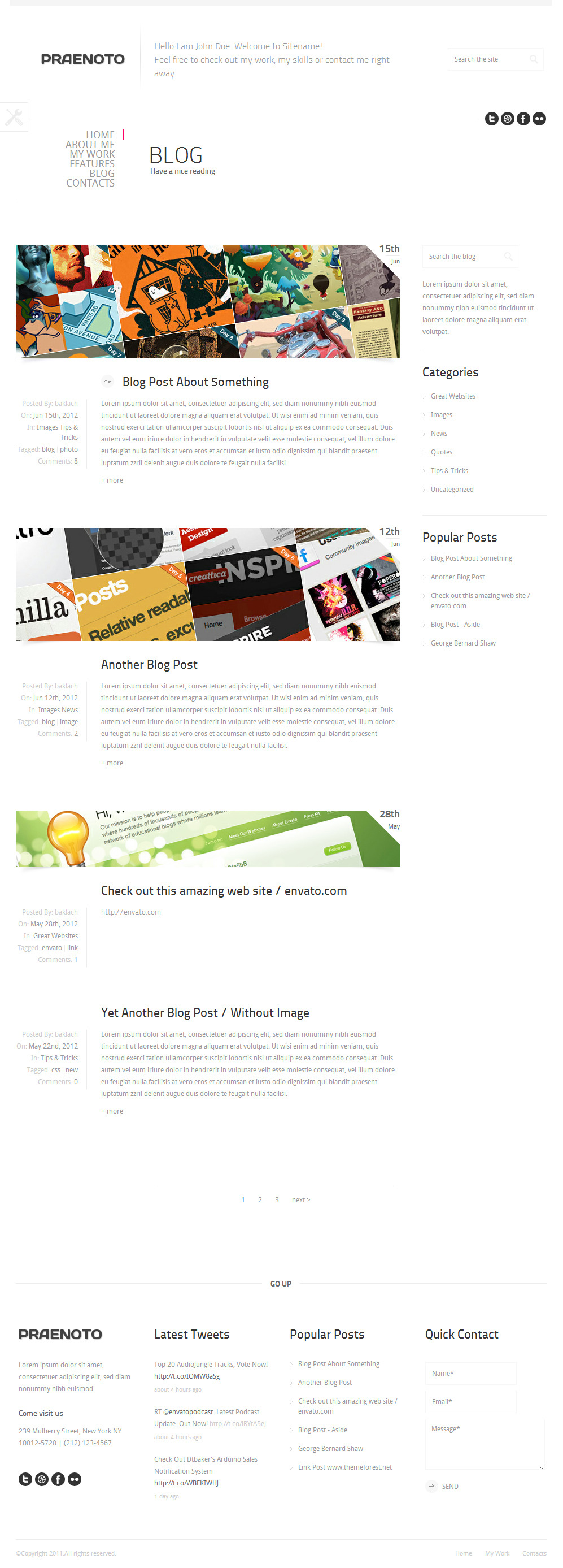 Praenoto - Clean & Minimalist WordPress Theme - Screenshot 9. Blog page.