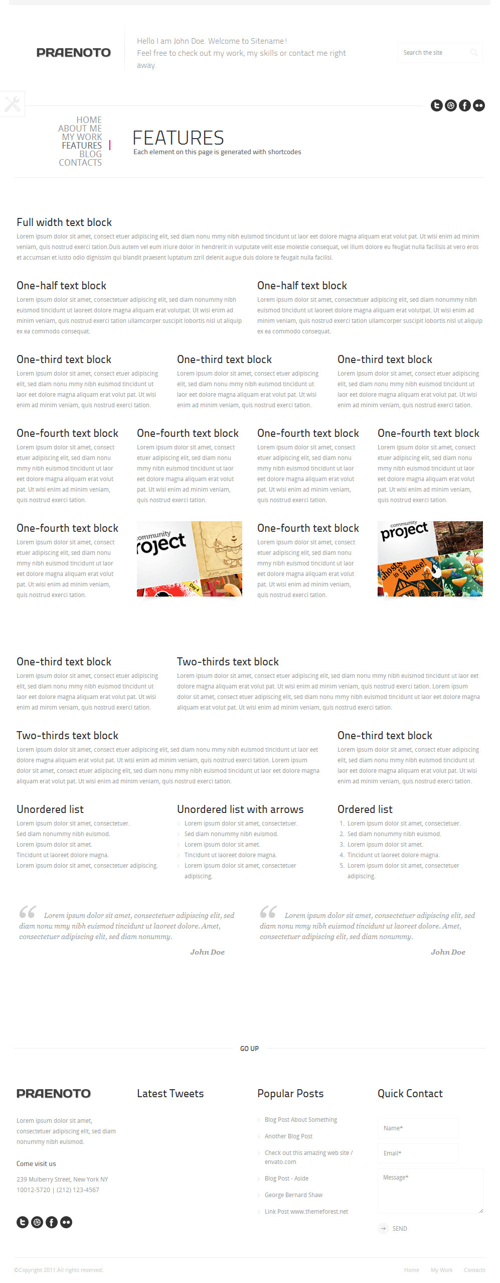 Praenoto - Clean & Minimalist WordPress Theme - Screenshot 13. Layout blocks page.