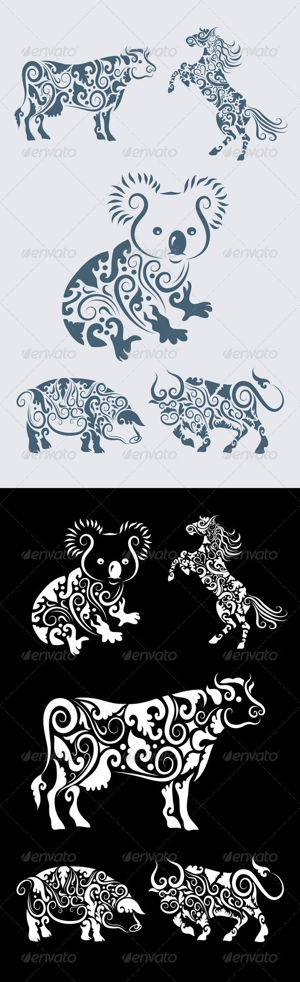 Koala ornament and friends (5 animal ornaments) - Flourishes / Swirls Decorative