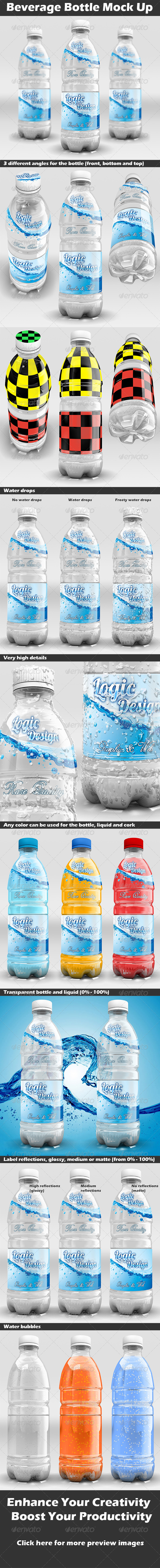 Beverage Bottle Mock Up - Food and Drink Packaging