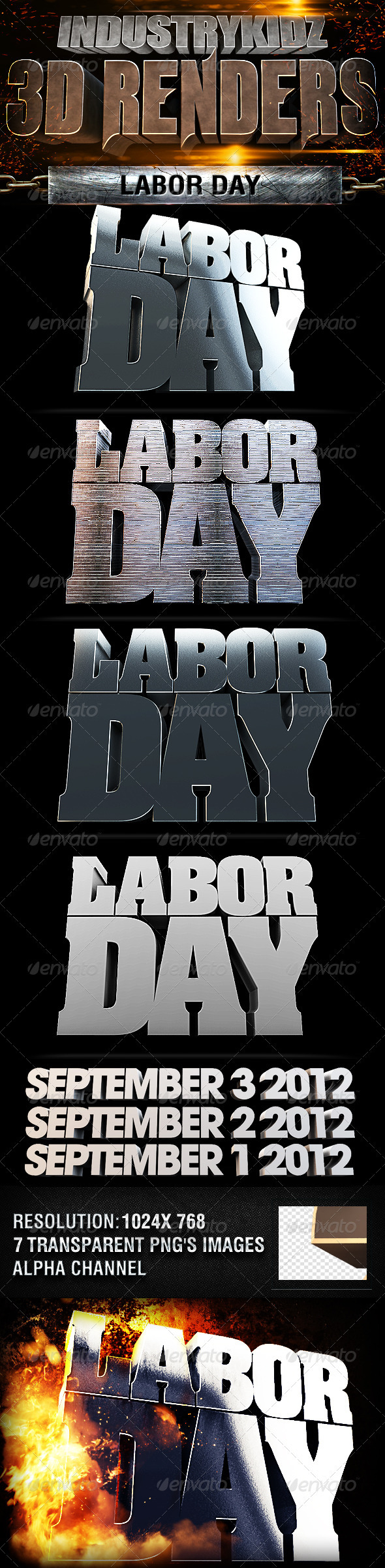 Labor Day 3d Renders - Text 3D Renders