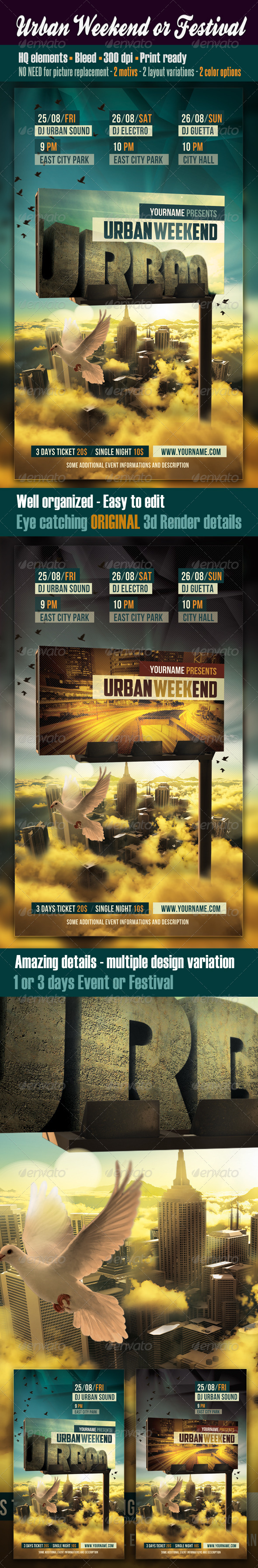 Urban Weekend Or Festival Flyer - Clubs & Parties Events