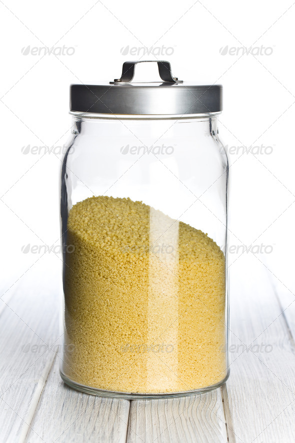 couscous in glass jar - Stock Photo - Images