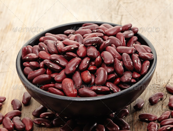 close up of a bowl of red beans - Stock Photo - Images