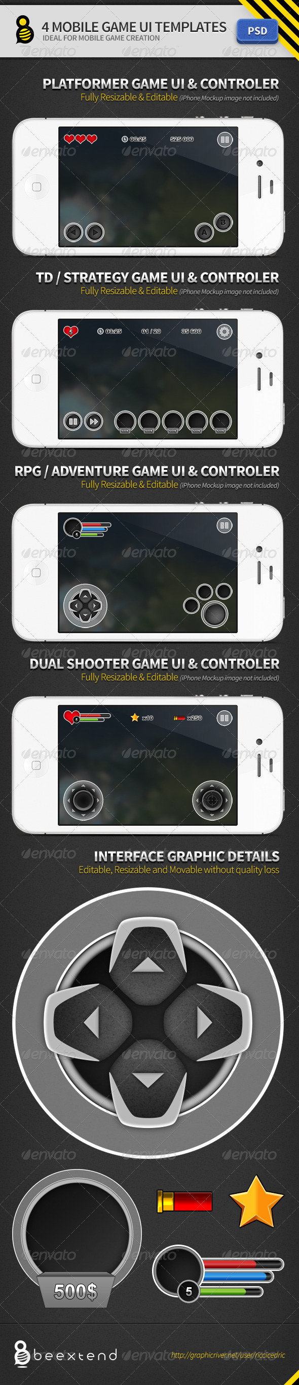 4 Mobile Game UI Templates - Miscellaneous Web Elements