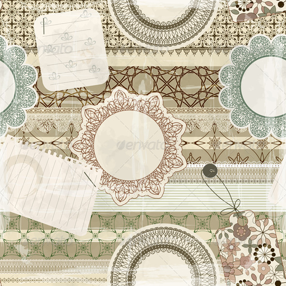 Vector Seamless Scrapbook Pattern - Patterns Decorative