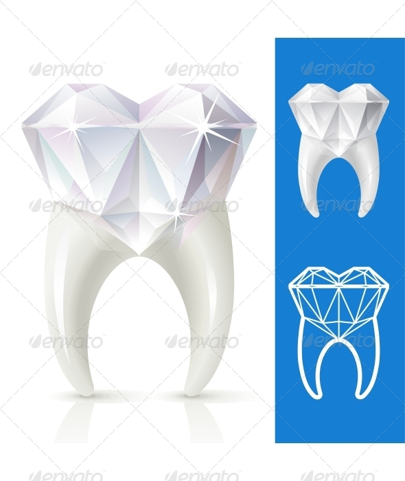 Vector tooth in the shape of diamond - Health/Medicine Conceptual