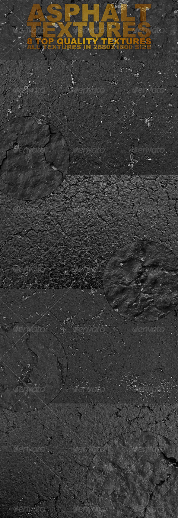 Black Asphalt Textures - Industrial / Grunge Textures