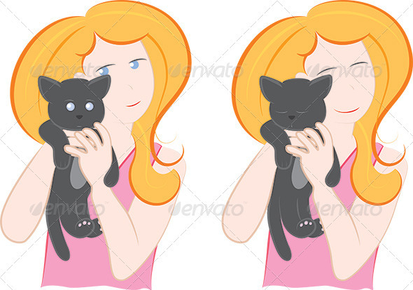 Woman holding a little cat - People Characters