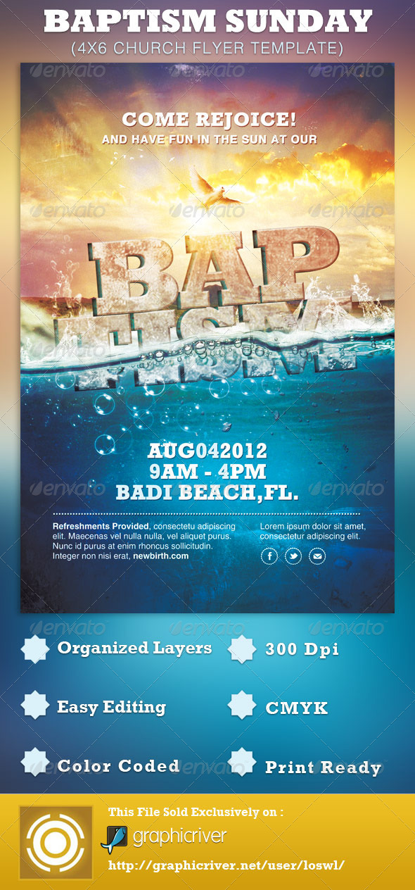GraphicRiver Baptism Sunday Church Flyer Template 2813515