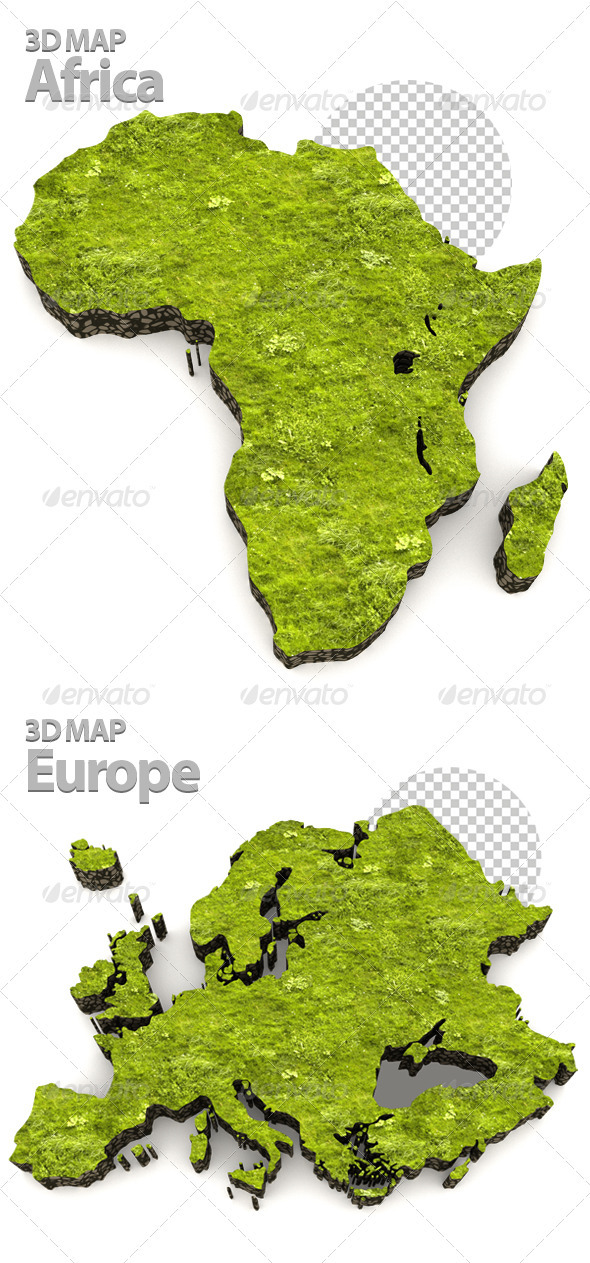 African Grass Map - Objects 3D Renders