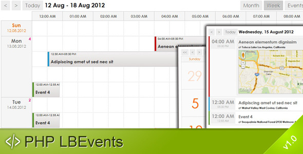 PHP LBEvents - AJAX Events Calendar - CodeCanyon Item for Sale