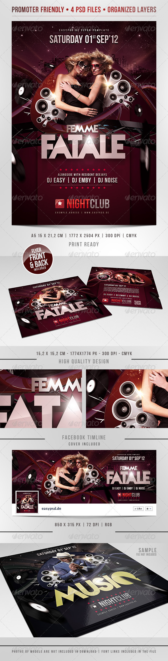 Femme Fatale Flyer Template - Clubs & Parties Events
