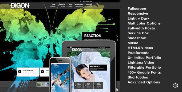 ThemeForest Digon Responsive Fullscreen Studio for WordPress 2821146