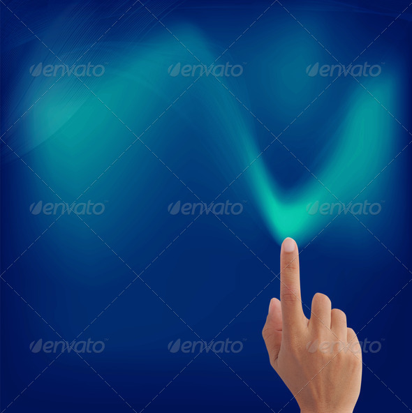 hand pointing on lines art glowing in colorful background - Stock Photo - Images