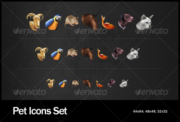 Pet Icons Set - Animals Characters