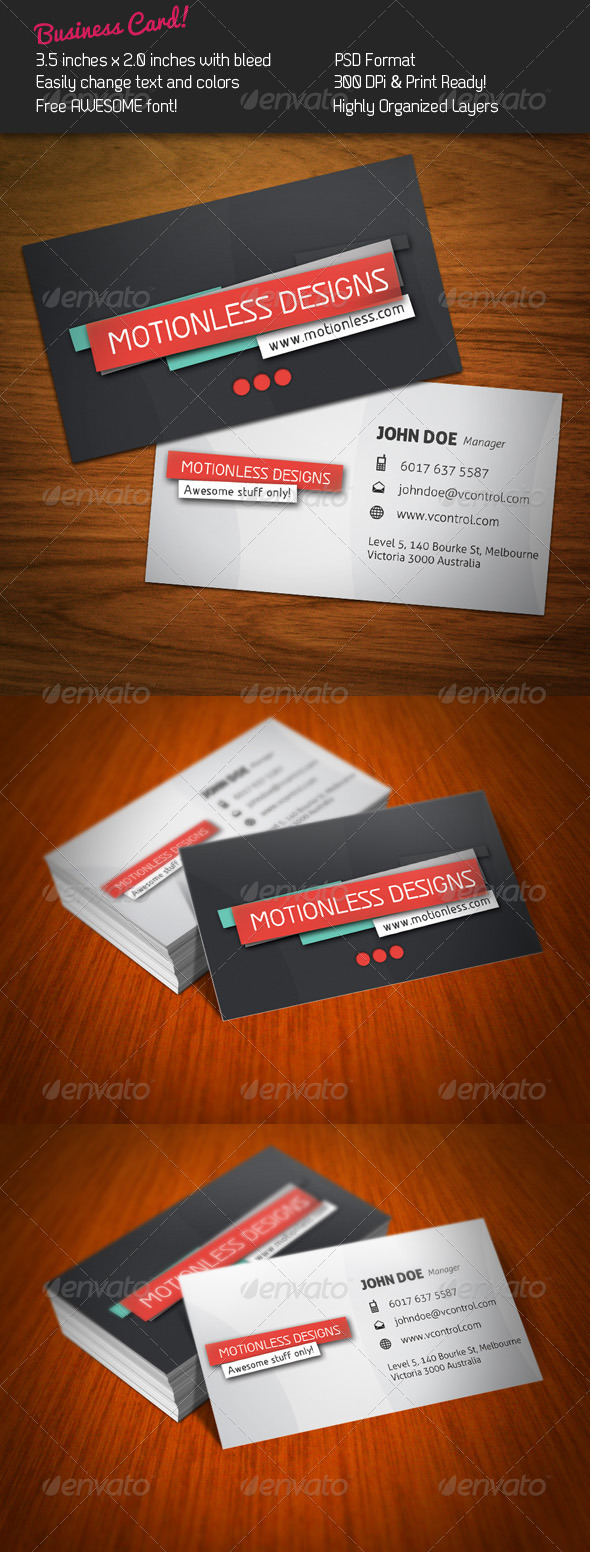 Motionless Business Card - Corporate Business Cards