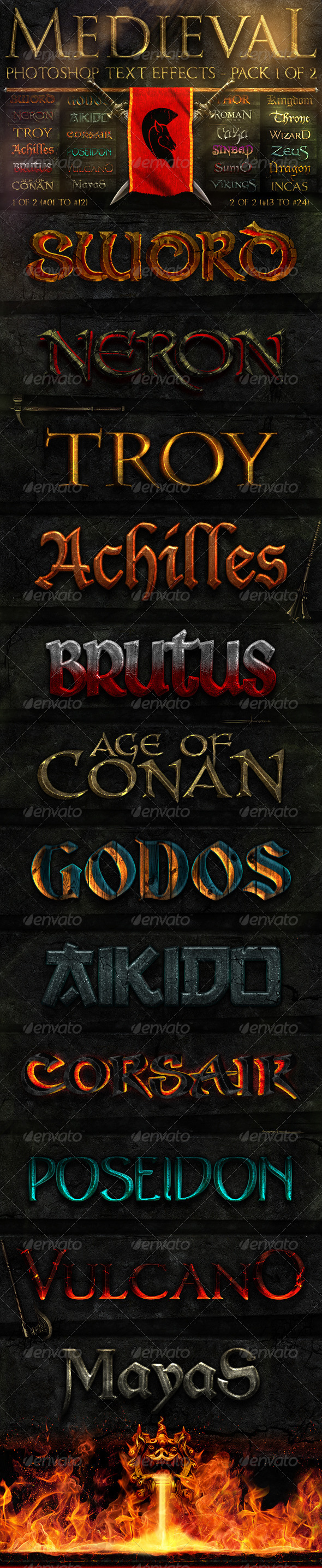 Medieval Photoshop Text Effects 1 of 2 - Text Effects Styles