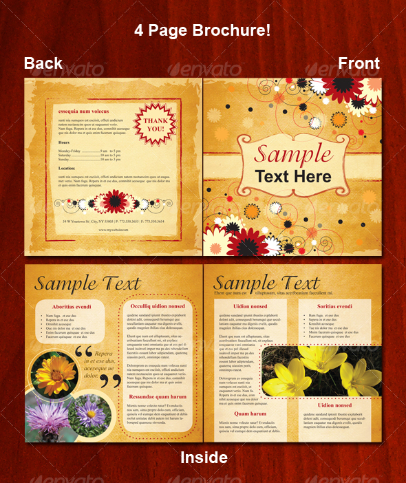 4 page floral brochure graphicriver for 4 page brochure template