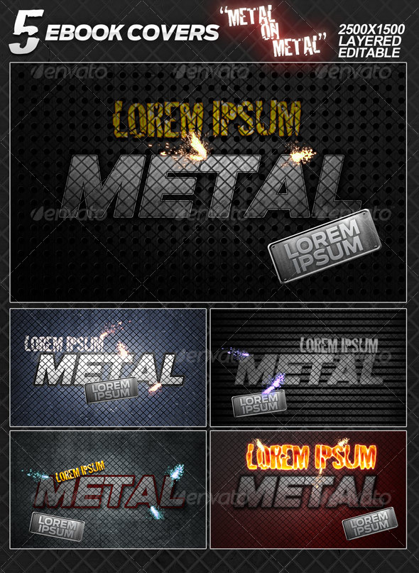 "5 eBook covers ""Metal On Metal"" - layered - Miscellaneous Web Elements"