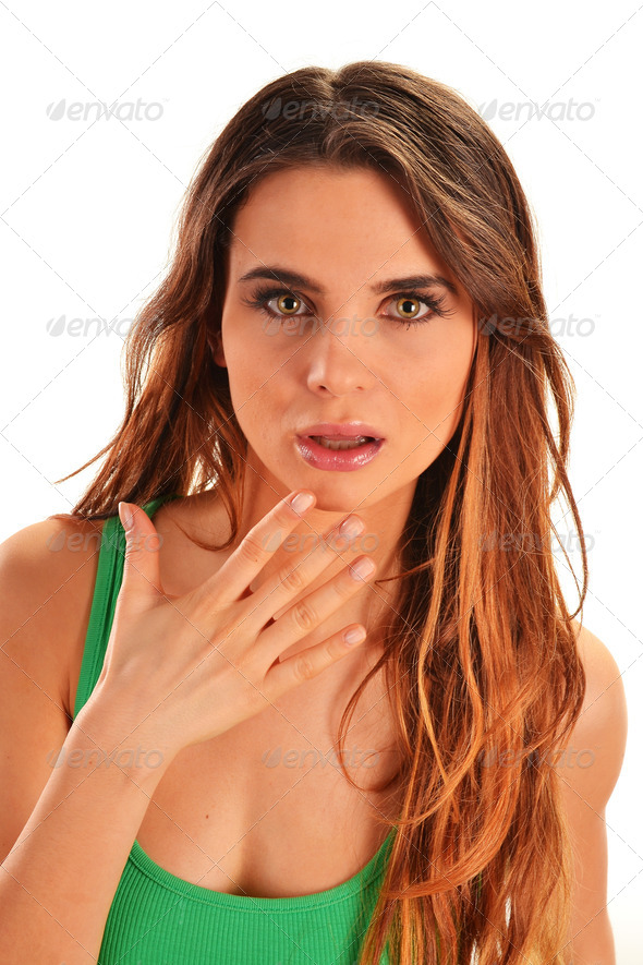 Portrait of a frightened young woman isolated on white - Stock Photo - Images