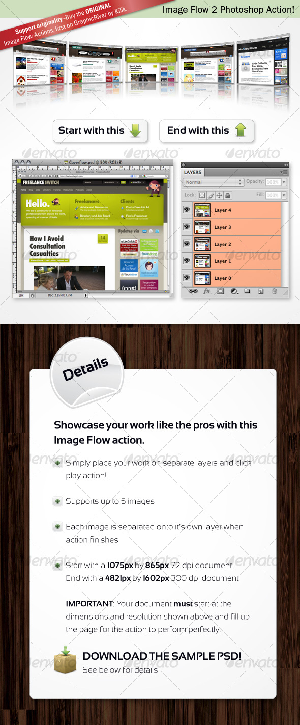 Image Flow 2 Photoshop Action - Utilities Actions