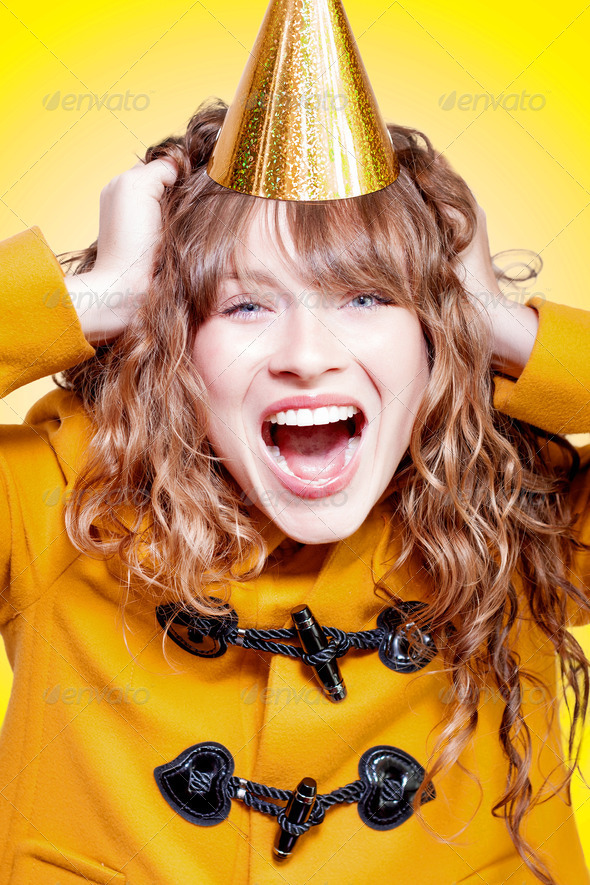 Crazy and overjoyed party girl - Stock Photo - Images